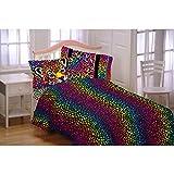 CA 4 Piece Girls Exotic Orange Cheetah Sheet Set Full Sized, Rainbow Animal Bedding Safari Themed Yellow Pink Purple Green Blue Wild Print Jungle, Polyester