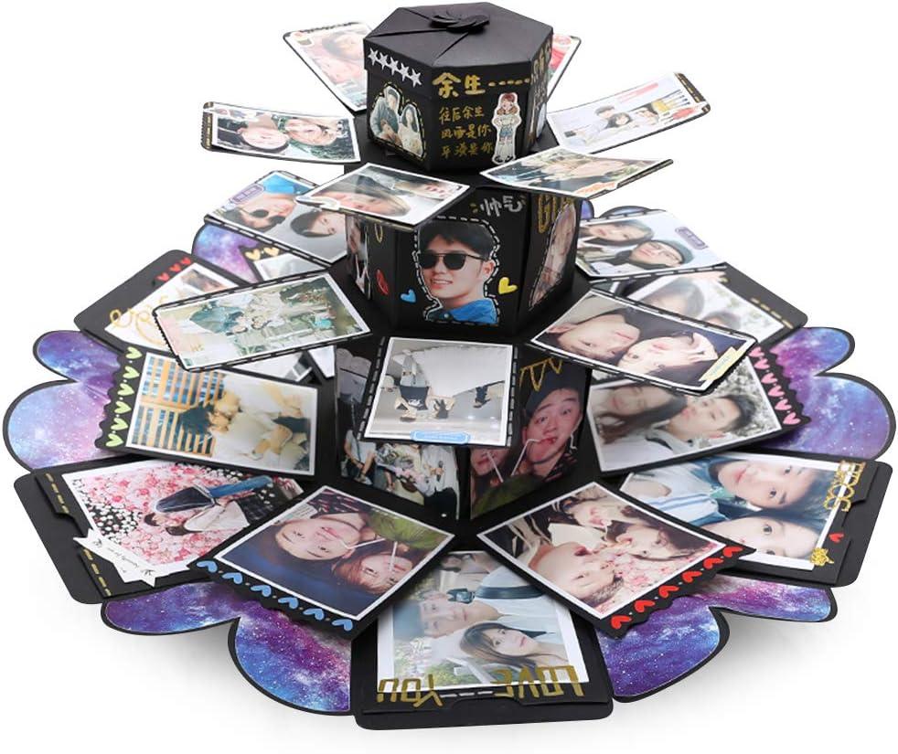 VEESUN Caja de Regalo Creative Explosion Box 6 Caras, DIY Álbum de Fotos Scrapbook Caja, San Valentin Navidad Regalos Originals Artesanales Mujer Hombre Novio Niña Niños, Forma de Torre