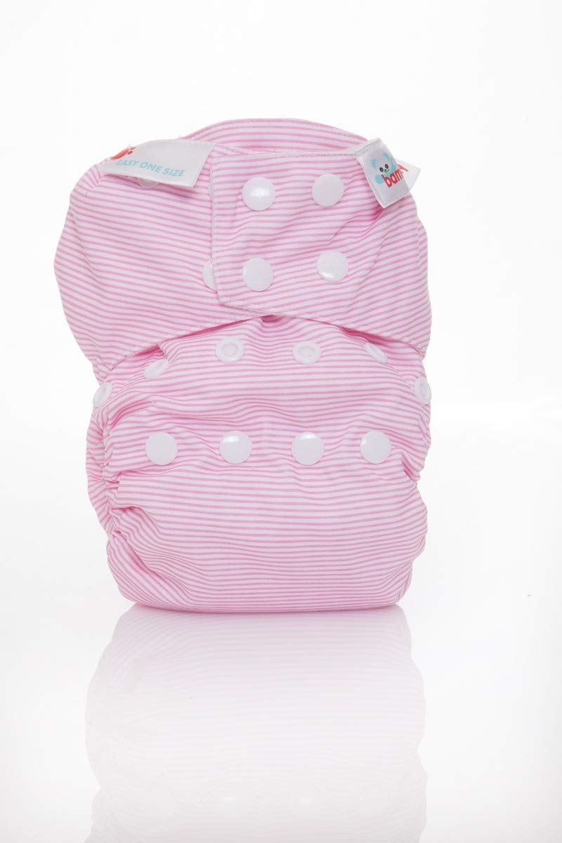 Bambooty Reusable Nappy All in One Easy One Size Bamboo Organic Cotton Washable (Navy Stripes)