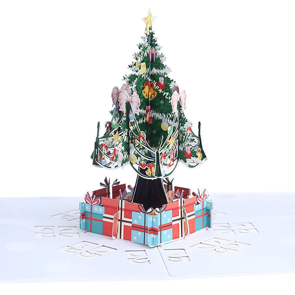 Christmas Tree Illustration.Ddg Edmms 1pc Pop Up Christmas Card 3d Greeting Card Christmas Tree Greeting Card With Envelope Handmade Paper Model With 5d View Christmas Card For
