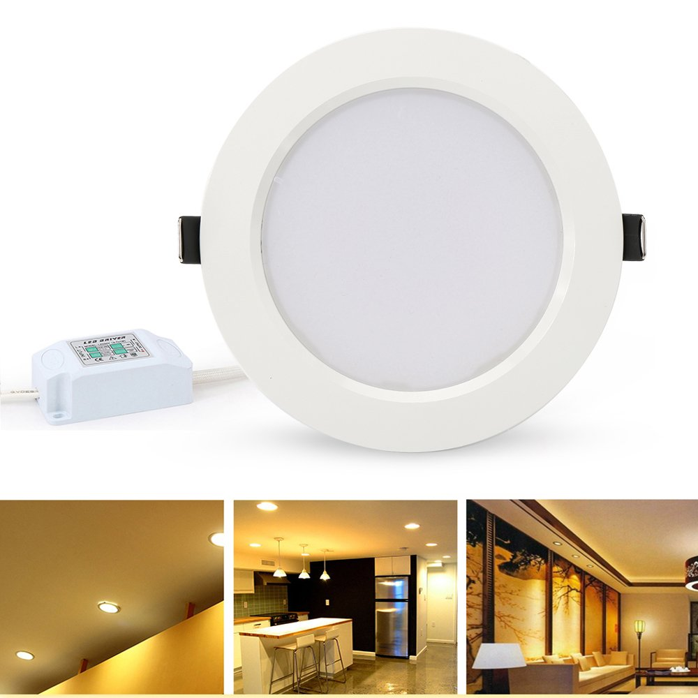 Lvjing led downlight retrofit recessed lighting fixture kit 24w ceiling panel light 180w equivalent 7 inch open hole size 3000k warm white glow