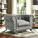 TOV Furniture The Durango Collection Rustic Style Living Room Parlor Den Bonded Leather Upholstered Button Tufted Club Chair, Grey