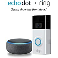 Ring Wireless Video Doorbell 2 (v2) (Satin Nickel) + Echo Dot (3rd Gen)