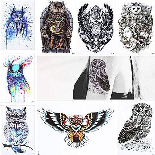 8 Pieces Tattoo Sticker Temporary Women Men Shoulder Body Art Paper Owl Pattern