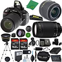 Nikon D5300 - International Version (No Warranty), 18-55mm f/3.5-5.6 DX VR, Nikon 70-300mm f/4-5.6G, 2pcs 16GB Memory, Case, Wide Angle, Telephoto, Flash, Battery, Charger