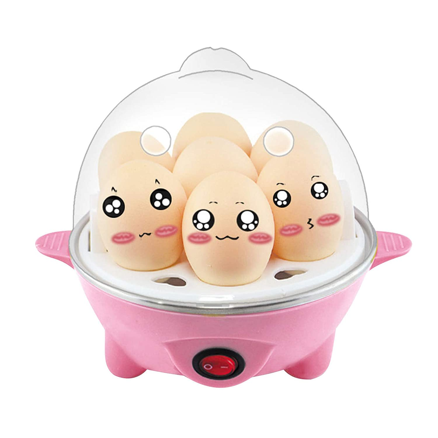 FIgures Rapid Egg Cooker, Easy Electric Egg Poacher, 7 Egg Capacity Electric Egg Cooker for Hard Boiled Eggs, Poached Eggs, Scrambled Eggs, Omelets, with Auto Shut Off Feature (Pink)