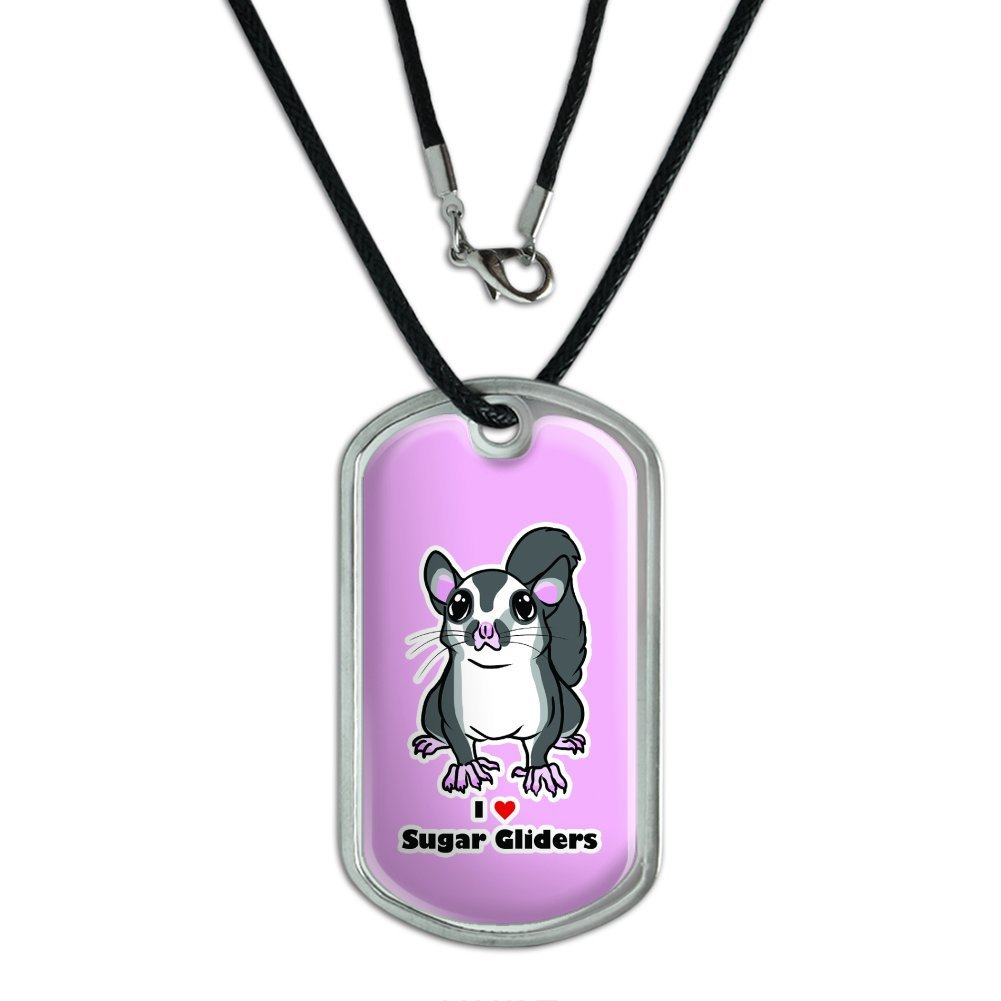 Sugar Glider I Love Heart - Pet Animal Cute On Pink Military Dog Tag Black Cord