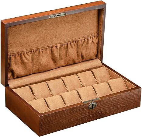 Cajas para Relojes de Madera con 12 Compartimentos Estuche para Relojes y joyeros Joyas Soporte de Exhibición Organizador Accesorios para Hombre Mujer: Amazon.es: Hogar