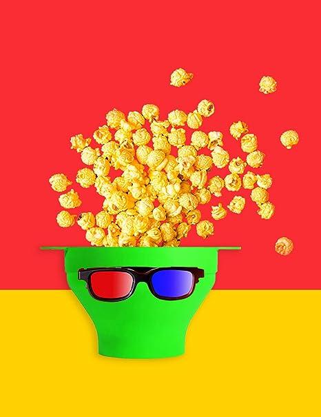 Recipiente de palomitas de maíz de silicona caliente para microondas con tapa y asas de silicona (verde): Amazon.es