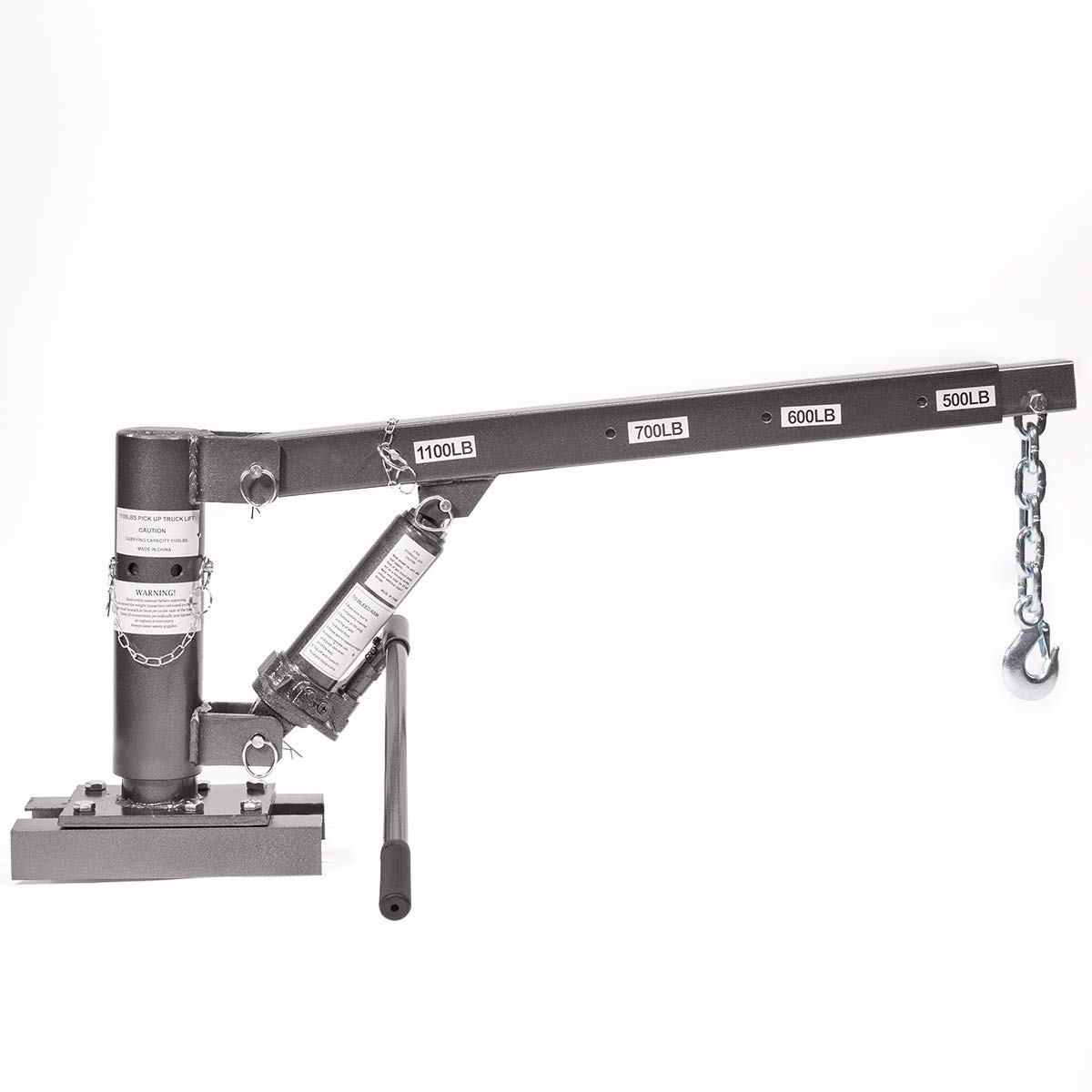 Stark 1/2 Ton Capacity Pickup Truck Extra Lift Hoist Load Crane Telescopic 1100lbs Extension Lock Position Swivel Base by Stark USA