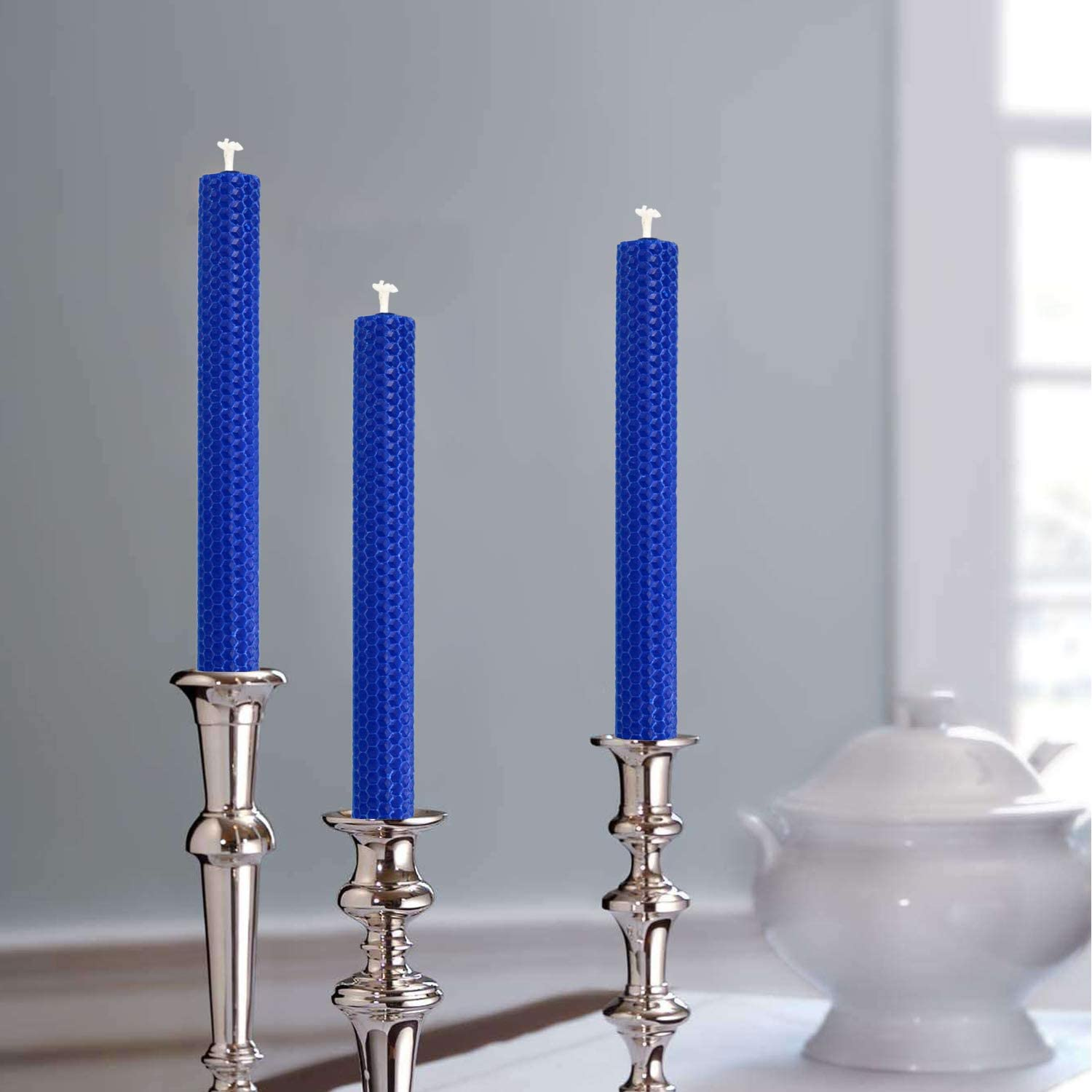 Set of 6 Blue Dripless and Smokeless NIGHTKEY 100/% Pure Beeswax Honeycomb Design Hand-Rolled 8 Inch Tall Taper Candle