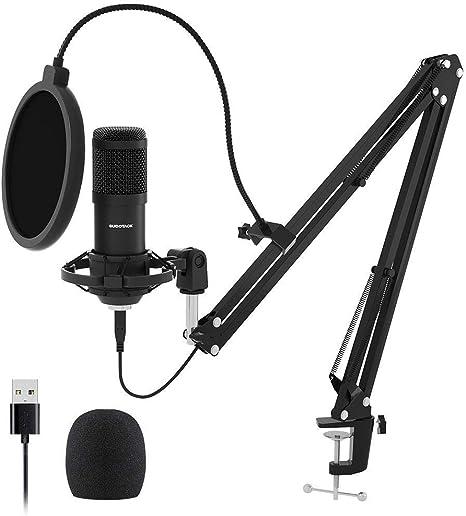 Kondensator Mikrofon set Studio Aufnahme Kit+USB Audio Adapter Edelstahl K2O9