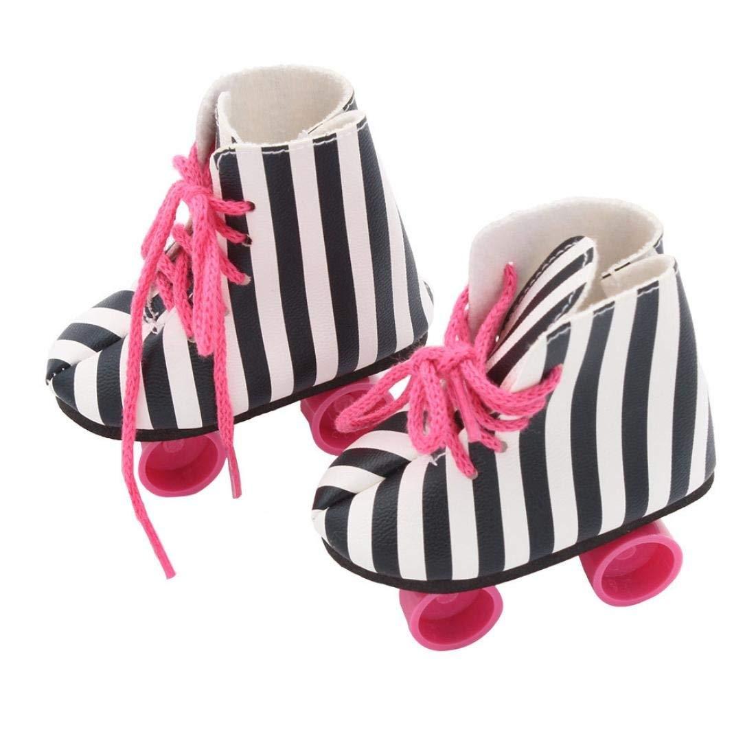 23eb3ca99c prevently Black Style Glitter Pink/Stripe Doll Roller Skates for 18 ...