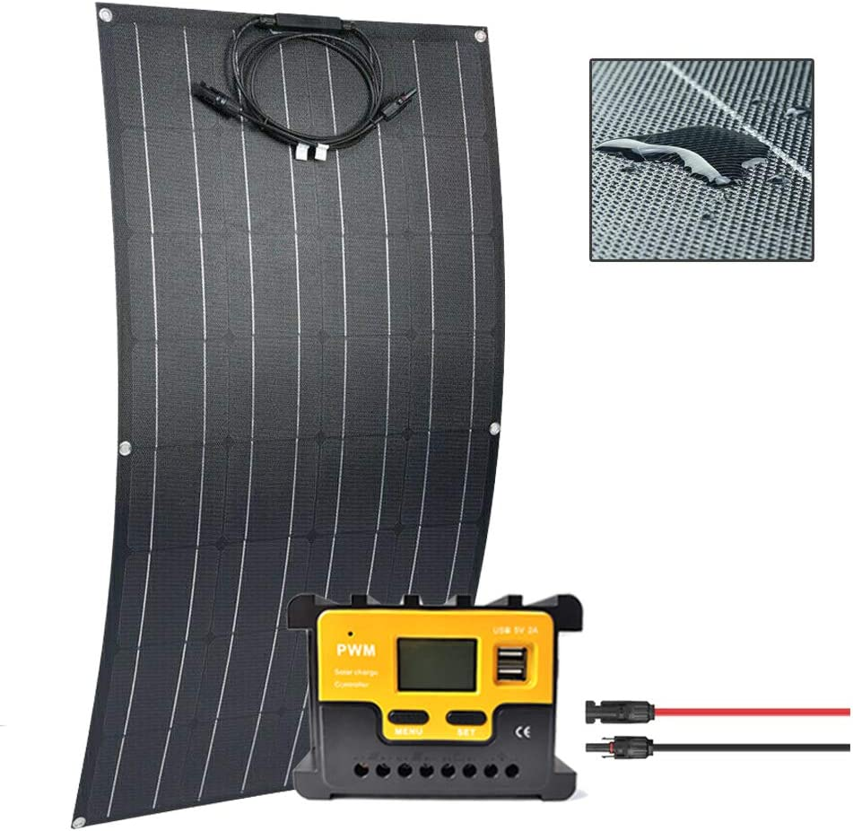 Giosolar 100W 12V Battery Charger kit with 100 Watt Flexible Solar Panel Monocrystalline Photovoltaic Module Bump Surface + 20A PWM Controller Connectors for RV,Boat,Camping