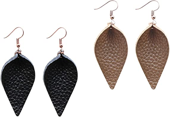 Genuine Leather Earrings 3 Pairs Silver Black Gunmetal Metallic Leather Teardrop