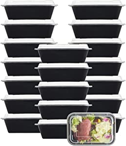 NutriBox [20 Value Pack] 1 compartment 24 OZ Meal Prep Plastic Food Storage Containers - BPA Free Reusable Lunch Bento Box - Microwave, Dishwasher and Freezer Safe - For School Work or Trips