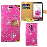 LG G3 Case, FoneExpert® Bling Luxury Diamond Leather Wallet Book Case Cover For LG G3 + Screen Protector & Cloth (Pink)