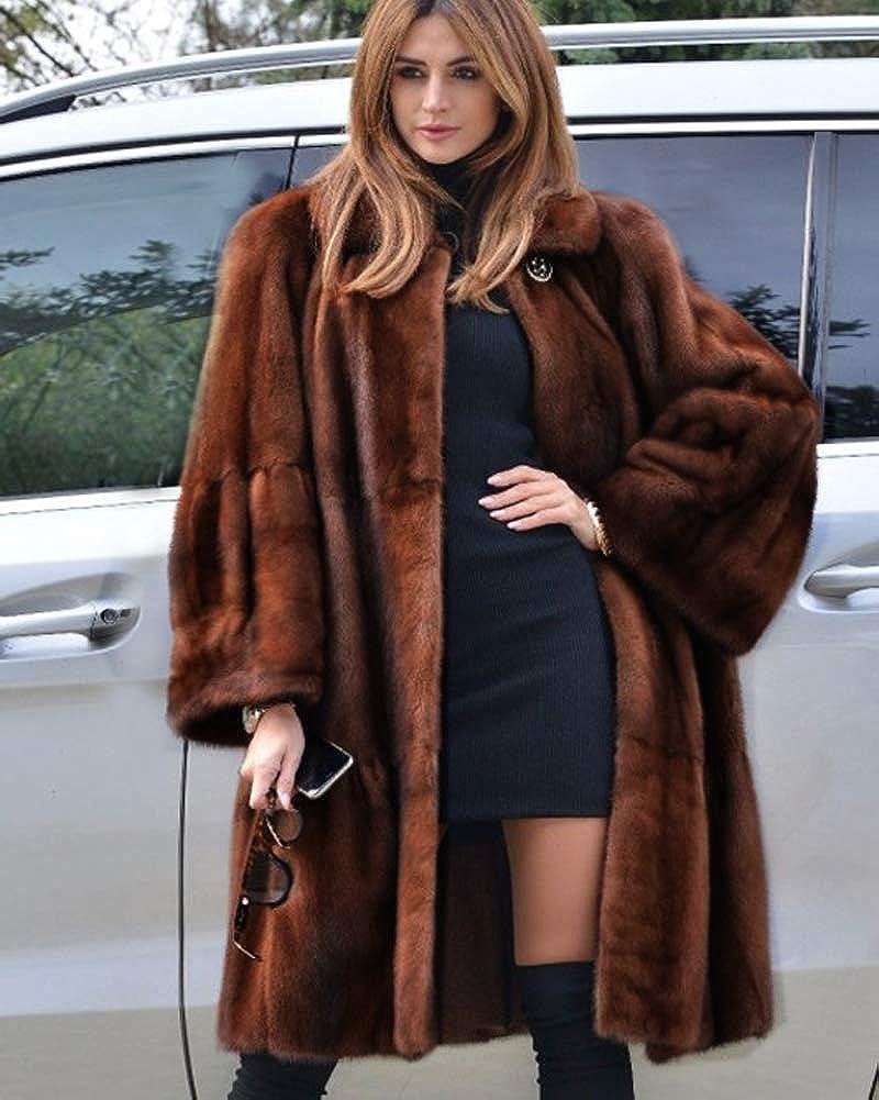 Roiii Ladies Coat Women Winter Vintage Outerwear Faux Fur Long Trench Parka Jacket Size 8-20