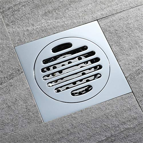 Tile Insert Square Shower Floor Drain 4-Inch Pure Cupper Grate Strainer With Removable Cover Anti-Clogging, Chrome Finish by YJZ (Image #2)