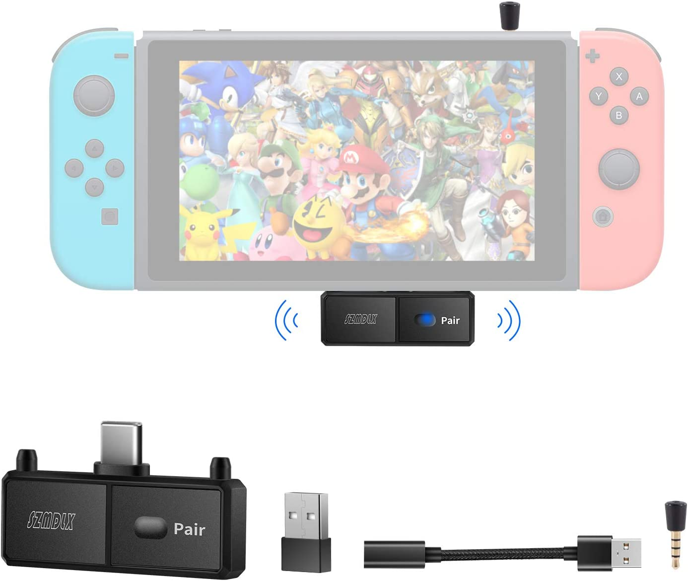 SZMDLX Transmisor de audio con adaptador Bluetooth 5.0 con USB C para Nintendo Switch, adaptador Bluetooth inalámbrico con micrófono para PS4 TV PC, par con auriculares Bluetooth, altavoces AirPods