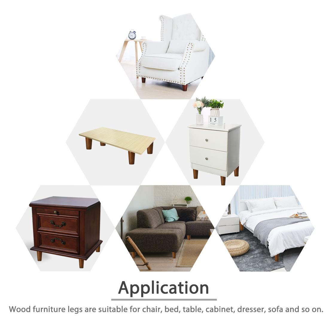uxcell 3 Round Solid Wood Furniture Legs Sofa Couch Chair Bed Desk Closet Cabinet Feet Replacement Set of 8