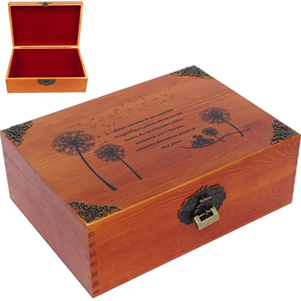 """CDM product WINGOFFLY Medium & Large Wooden Treasure Box Trunk Box Stash Boxes for Jewelry Storage Cards Collection Gifts and Home Decoration (L 13.0""""x9.4""""x4.7"""", Dandelion) big image"""