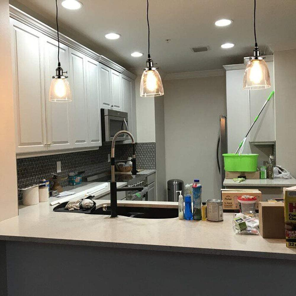 Silver Kiven 3 Lights H Type Track Lighting Pendants Kitchen Island Chandelier Triple 3 Heads Pendant Hanging Ceiling Lighting Fixture W Bell Clear Glass Shade Ceiling Lights Tracks Rails