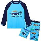 HUANQIUE Baby Toddler Boy Swimsuit Rashguard Set UPF 50+ Swimwear