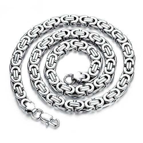 Hot Sales Rock 316 Stainless Steel Male Necklace Circle Chain 22 Inch Gifts Link Sexy Never Fade (Silver Color)