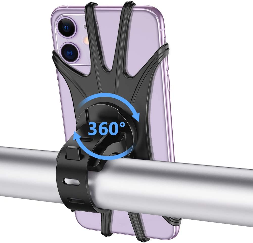 Bike Phone Mount, VUP Silicone Phone Stand for Bicycle, 360° Adjustable, Face & Touch ID, Universal Motorcycle Phone Mount for iPhone 11/Pro/XS/MAX/XR/X/7/8/Plus, Galaxy, Google Pixel, Nubia, LG