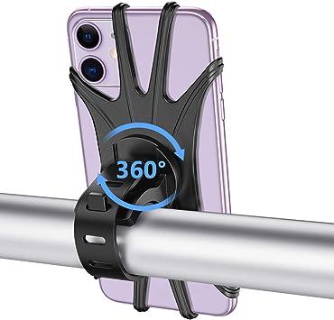 VUP Soporte Móvil Bicicleta, Universal 360°Rotación Soporte Móvil Bici Moto, Ajustable Soporte Teléfono Manillar de Bicicleta para iPhone, Samsung Galaxy, Huawei & Xiaomi Todas Teléfonos (4