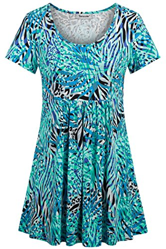 Tencole Printed Tops for Women Uniform,Breezy Tunics for Beach Floral Tunic Blouse Flowy Shirt Summer Sexy Blouse - Tunic Printed Breezy