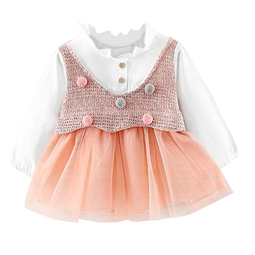 5e96399b54 Amazon.com  Baby Cute Tutu Dresses Newborn Infant Clothes on Sale for 0-24  months Long Sleeve Party Princess Dresses  Clothing