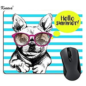 Knseva Cute Gaming Mouse Pad Custom, Funny French Bull Dog Vector with Sunglasses Cute Navy Stripes, Personalized Design Thick Rubber Mouse Pads