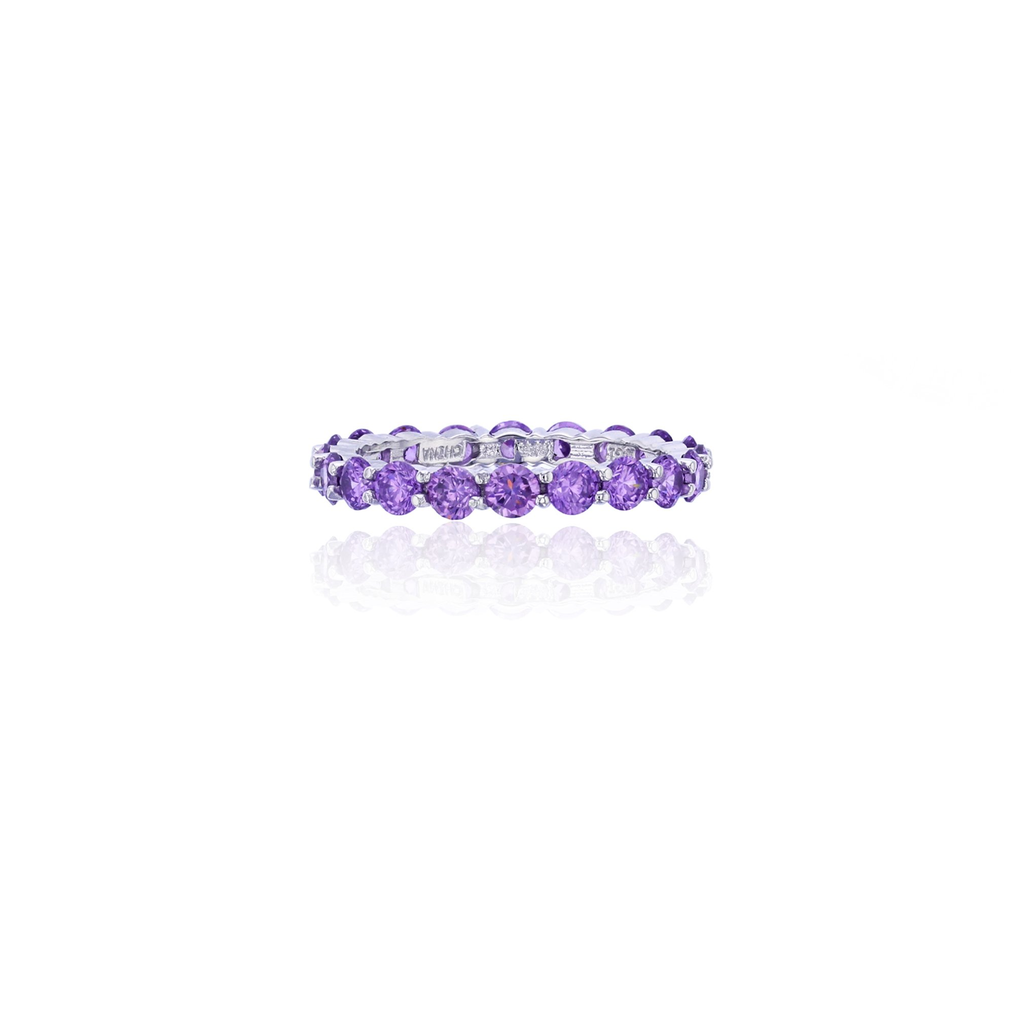 Sterling Silver 3mm Round Amethyst CZ Prong Set Eternity Band Ring