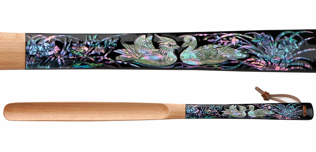 Mother of Pearl Inlay Art Wedding Duck 20 Inch Long Wooden Black Handled Anniversary Housewarming Gift Present Shoe Horn Shoehorn with Leather String for Hanging