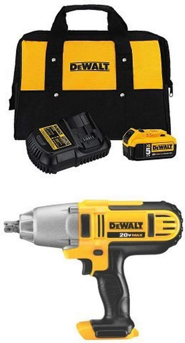 DEWALT 20-Volt MAX 5.0Ah Lithium-Ion Battery and Charger Kit with Bag and Impact Wrench