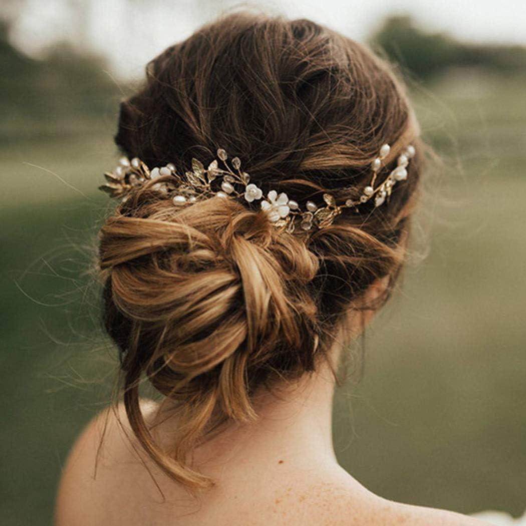 Bride Wedding Headband Pearl Flower Hair Vine Hair Jewelry for Womens Girls