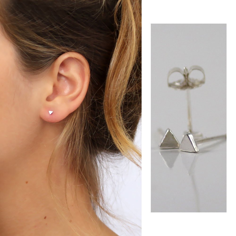 Handmade Designer a Pair of Tiny Triangle stud earrings Sterling silver, 3.5mm 0.14''inches