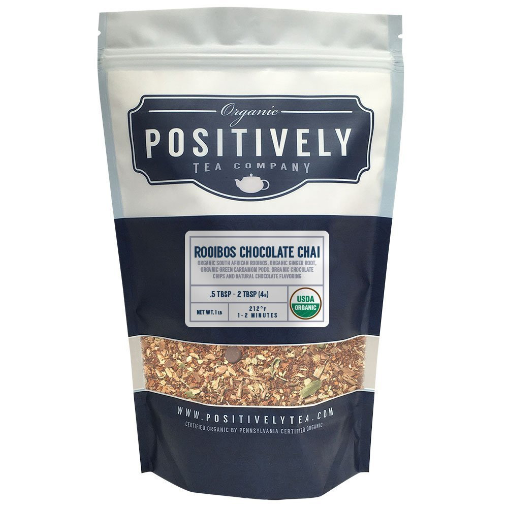 Positively Tea Company, Organic Rooibos Chocolate Chai, Rooibos Tea, Loose Leaf, USDA Organic, 1 Pound Bag by Organic Positively Tea Company