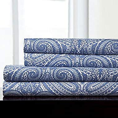 Sweet Home Collection 4 Piece Luxuriously High Thread Count Egyptian Quality Deep Pocket Bed Sheet Set, Queen, Paisley Medium Blue
