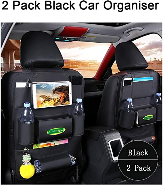Multi-Pockets Travel Storage for Cup Tissue box Umbrella Snacks Toys 2 Pack Car Seat Back Organiser for Kids Waterproof Organizer with iPad Holder 2Pcs Black