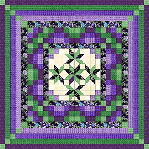 Easy Quilt Kit Nine Patch Star Lily Purple/Green/King by matmav9pat (Image #1)
