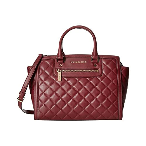 michael kors selma zip quilt medium satchel claret leather handbags rh amazon com