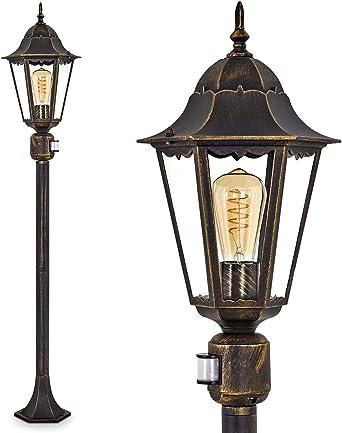 Lampadaire HongKong vintage en fonte d'aluminium brundoré, luminaire d'extérieur (IP44) avec détecteur de mouvements pour 1 ampoule E27 max 100