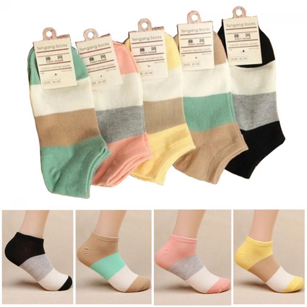 Miswilsi Fashion Sport Cotton Low Cut Wide Stripe Women Boat Socks Ankle