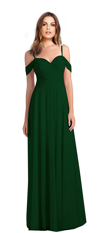 Dark Green VaniaDress Women Off The Shoulder Long Formal Dress Prom Gowns V060LF