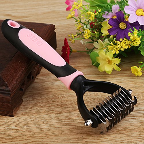 Pet Undercoat Rake, Professional Dematting Tools, Grooming Stripping Comb for Dogs Cats, 11 Teeth Wide Pets Brush (Pink) by saplit