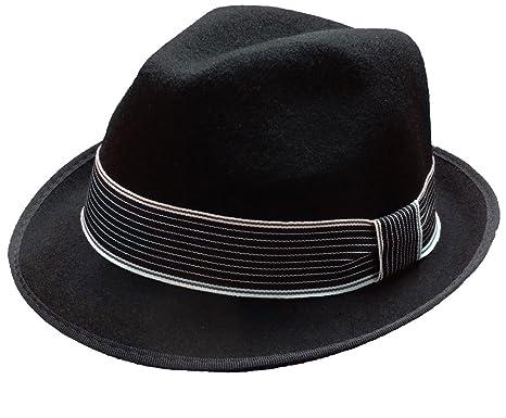 910bb5d4 Subtle Addition Short Brim Wool Felt Fedora Hats for Boys, Black with  Striped Band,
