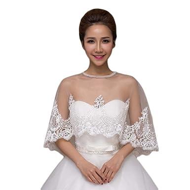 2016 Women\'s Lace Beaded Wedding Shrug Birdcage Bridal Dress Bolero ...